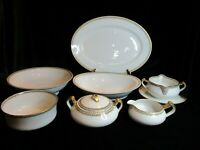 LIMOGES HAVILAND ALBANY FRANCE CIRCO 1900'S YELLOW GREEK KEY 7 PIECE SERVING SET