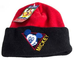 Micky Mouse Aqvila Red and Black Acrylic Beanie Hat