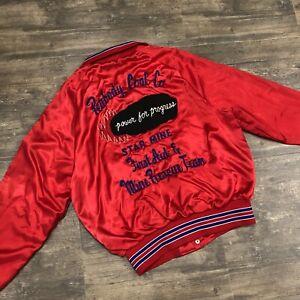 Vintage Aristo Jac By Hilton Red Satin Jacket Large USA Peabody Coal Mine Rescue