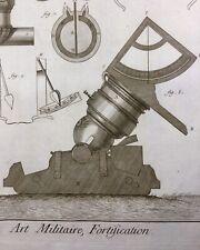 Art Militaire Gravure 18ème Siècle Canon Artillerie Mortier Diderot Armée Compas