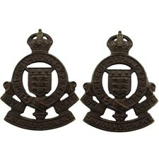 WW2 Royal Canadian Ordnance Corps Canada BRONZE Officers Collar Badge PAIR GX17