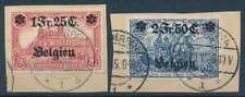 Landespost in Belgien Nr. 8 + 9 gestempelt/Briefstück (70559)