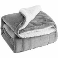Sherpa Sheepskin Blankets Thick Double Layer Flannel Wool Winter Warm Office