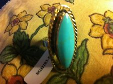 Turquoise Ring Sterling Silver, Size 5.