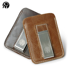 2019 NEW Genuine Cowhide Leather Money Clip Wallet Men Slip Metal Short Wallets