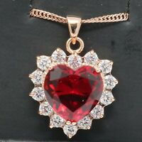 Large 2 CT Heart Red Ruby Diamond Women Necklace Jewelry 14K Rose Gold Plated