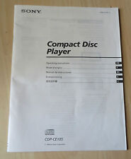 Sony CDP-CE105 Compact Disc (CD) Player Operating Instructions User Manual