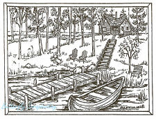 Cabin Dock Canoe Scene Wood Mounted Rubber Stamp NORTHWOODS New P8561
