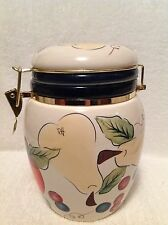 "Knott's Berry Farm Foods Large Ceramic Canister Fruit Design 8 1/4"" Tall"