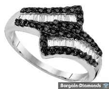 .72-carats 925 cocktail birthday right hand black white diamond love bypass ring