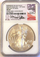 2016-W Burnished Silver Eagle NGC MS69 First Day Issue Mike Castle ONLY 200 Pop