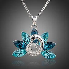 White Gold Plated Peacock Tailed SWAROVSKI Element Crystal Pendant Necklace N236