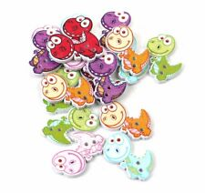 10 x CUTE  DINOSAUR BUTTONS - 28 x 20mm -  SAME DAY **FREE**  POSTAGE
