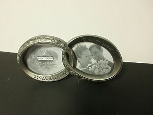 """Pewter easel back double 2 1/2 x 3  wedding frame """"With this ring I thee wed""""NEW"""