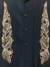 ODO Mens Shirt Blue White Dragon Embroidery Club/Camp/Lounge Short Sleeve Size L