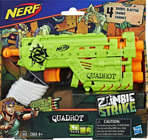 LOT OF 2 NERF Zombie Strike QUADROT 4X Elite 4 Darts Each HOT ITEM AGE 8 AND UP