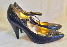 Enzo Angiolini Women's Shoes High Heels Black Snakeskin Gold Insoles US 9.5