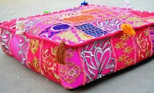 "16"" Square Patchwork Cushion Cover Indian Bohemian Vintage Floor Decor Pillow"