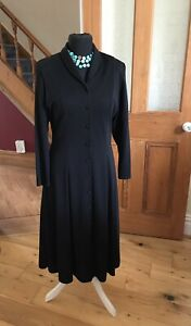 BNWT M&S Marks 80s Black Jersey Fitted Midi Dress Button Front Size 16 Fit 12 14