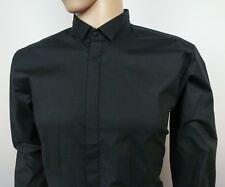 HUGO BOSS Mens Black Dress Shirt Slim Fit Stretch Red Label Size L 16.5 - 44 New