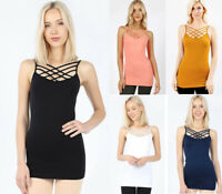 Women's Criss Cross Strappy Tank Top Camisole Cage Layering Long Solids Fitted