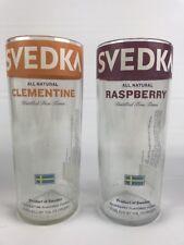 Svedka Vodka Bottle Large Glass Lot Of 2 Glasses Raspberry Clementine EUC M1