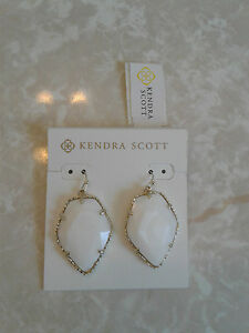 Kendra Scott White MOP Pearl Corley Drop Gold Earrings NWT