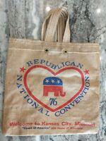 Vintage 1976 Republican National Convention Kansas City Missouri burlap tote bag