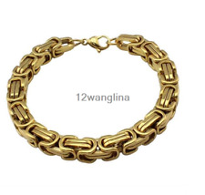 5mm Silver Black Gold Chain Bracelet for Mens Byzantine Link Stainless Steel