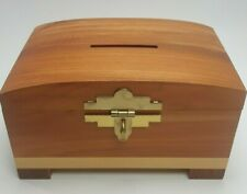 Wooden CEDAR Money Bank(Southwestern Aztec Latches) Piggy Bank Decor - Coin Box