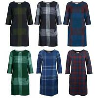 ex Seasalt Cotton Yarn Check Tunic Dress Fully Lined Scoop Neck 3/4 Sleeve