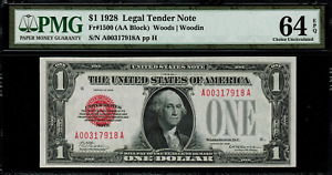 "1928 $1 Legal Tender FR-1500 - ""Red Seal"" - PMG 64 EPQ - Choice Uncirculated"