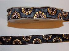 1m Negro Cristal cinta del telar jacquar bordado de encaje y apliques recorte Decoración India