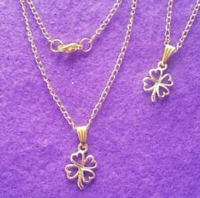 "Gold Plated Four Leaf Clover Pendant and Necklace 19"" Fine Curb Chain + Gift Bag"