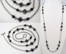 """KONSTANTINO Sterling & Faceted Black Onyx 36"""" NYKTA Station Necklace"""