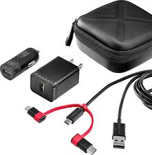 Insignia - 4' Charging Kit - ( Cable with lightning and USB-C) Car+Wall charger
