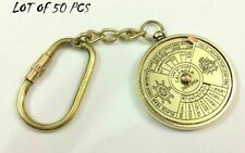 Lot 50 pcs Nautical Brass Perpetual 50 year Calendar Collectible Key rings