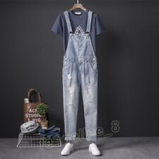 Mens Slim Denim Ripped Overalls Jeans Jumpsuits Rompers Suspender Trousers Pants