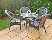 Gartenmöbel Set Poly Rattan Gartengarnitur  Sitzgruppe Essgruppe Tisch+4 Stühle
