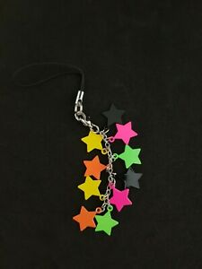 New Claire's Cell Phone Charm Cartoon Neon Stars Multicolor
