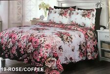 Venetian Flowers Rose/Coffee Bedspread Quilted Set 6 Pcs Queen Size