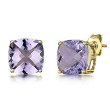 9ct Gold Stud Earrings Cushion Chequerboard Cut Amethyst Claw 8mm