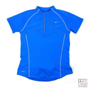 Nike FitDRY Womens M Short Sleeve Polyester Quarter Zip Shirt Pocket Blue