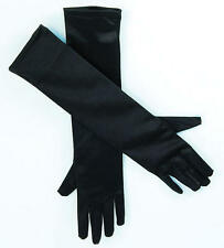 "Womens 19"" Black Satin Elbow Length Gloves 20s 30s Flapper Fancy Dress Accessory"