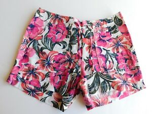 """NWT Gap Women's Comfy 4"""" Tropical Floral Utility Shorts Drawstring Size 2 New"""