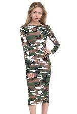Womens Ladies Long Sleeves Army Leopard Tartan Print Stretch Bodycon Midi Dress