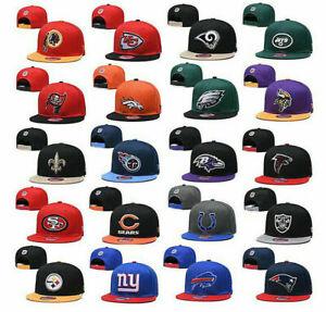 NEW NFL Unisex All Team American Football Baseball Cap Snap Back Flat Hat Cap