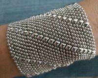 SG Liquid Metal Diagonal Lines Silver Mesh Wide Cuff Bracelet B27 / All SIZES