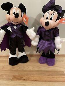 """🎃 Mickey & Minnie Mouse HALLOWEEN DOOR GREETER Dracula & Draculeet 23"""" Tall"""