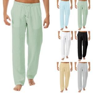 Mens Cotton Linen Loose Pants Casual Drawstring Beach Yoga Baggy Long Trousers